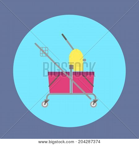 Cleaning service trolley. Vector icon of trolley for cleaning