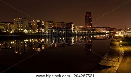 Frankfurt by the river at night in Ostend region.