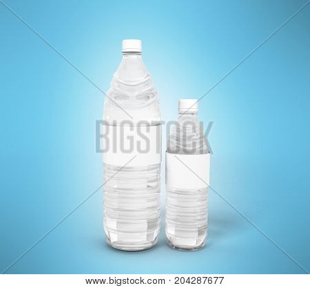 Big And Small Plastic Bottle Concept 3D Render On Blue Background