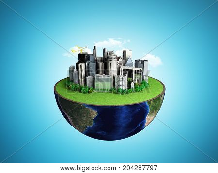 Urbanization Concept With Globe And City On Abstract Blue Background 3D Rendering