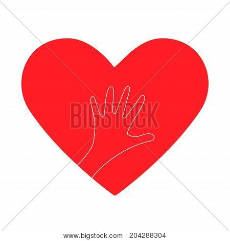Charity work heart symbol or giving helping hand or philanthropy illustration. Could be also used as church logo or donation icon.