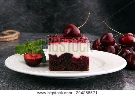 Home Made Cherry Cake With Vanilla, Cream Cheese And Black Cherries