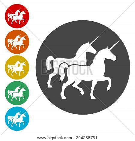 Silhouette of Two Unicorn Horse icon, vector icon