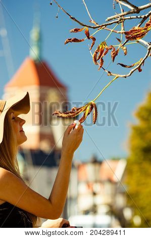 Seasonal fashion clothing style concept. Woman says goodbye to summer by touching dry leaf on tree. Beautiful glamorous outfit with sun hat
