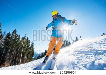 Shot Of A Freerider Skier Skiing In The Mountains On Fresh Powder Snow Copyspace Recreation Sports W