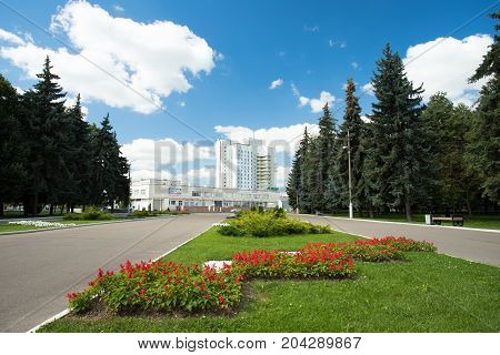 Kolomna Russia - August 9 2017: Kolomna Hotel On Blue Dramatic Sky View From Memorial Park In Kolomna Moscow Region.