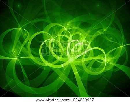 Green glowing spaghetti curves in space computer generated abstract background 3D rendering