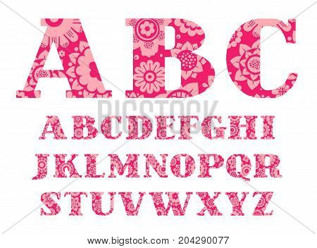 English alphabet, pink flowers, font, vector. Capital letters of the English alphabet with serif. Pink decorative flowers on a dark pink background.