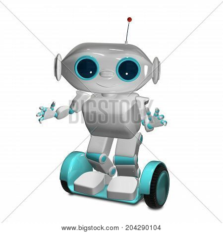 3d image of a White Robot on Scooter