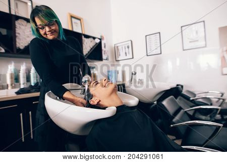 Female hairdresser rinsing hair of a customer . hairdresser washing hair to the customer before doing hairstyle