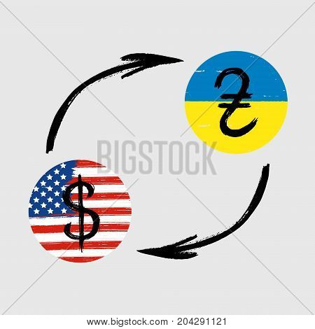 Currency Signs - Grunge - Exchange - Hryvnia and Dollar
