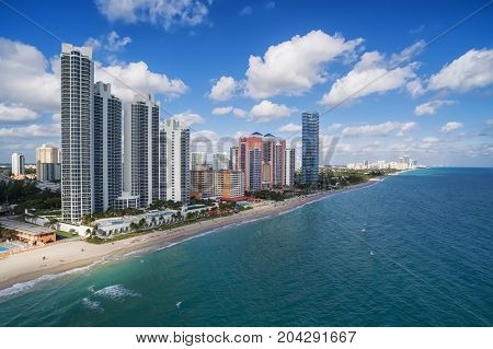 Aerial view of North Miami Beach - white sandy beach with clear blue tropical ocean waters, Aerial view, Miami, Florida, USA
