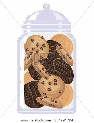an illustration of a clear glass jar full of chocolate digestives and chocolate chip cookies on a white background