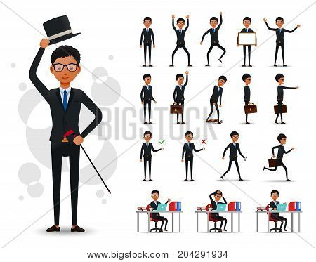 Male Black African Businessman 2D Character Ready to Use Set Wearing Suit and Tie Standing and Sitting Position with Facial Expressions and Posture in White Background. Vector Illustration.