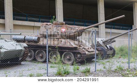 Nauders, Austria - , August 9, 2017. Soviet Ww2 Tank, Model T34/85, At The Festung Nauders, A Fortre