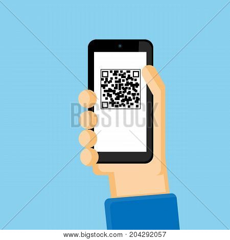 QR code on mobile phone vector business design.