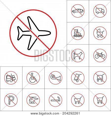 Thin Line No Plane, Forbidden Flight Sign, Transport Prohibition