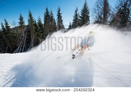 Skier Shoting By Action Camera On Selfie Stick While Skiing On Fresh Powder Snow In The Mountains Ac