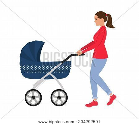 Young woman with a blue baby stroller. Vector illustration.