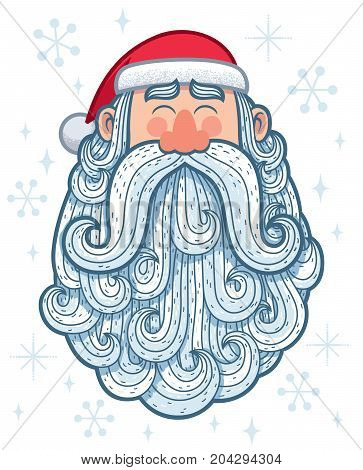 Cartoon portrait of happy Santa Claus with big beard.