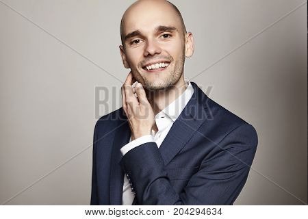 Cheerful Man In Blue Jacket