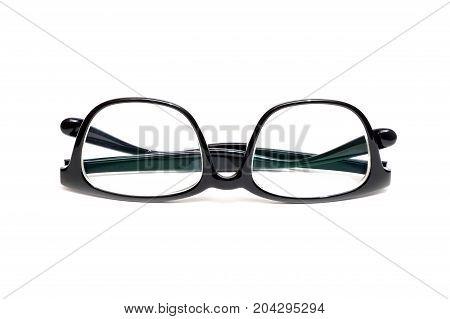 Black Plastic eyeglass on isolated white background.