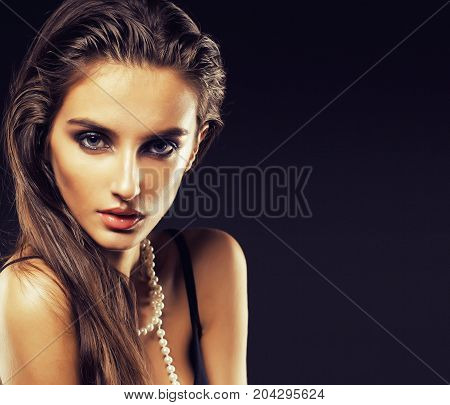 beauty young sencual woman with jewellery close up, luxury portrait of rich real girl, party makeup