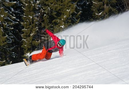 Professional Freerider Snowboarding In The Winther Mountains. Forest On The Background. Snowboarder