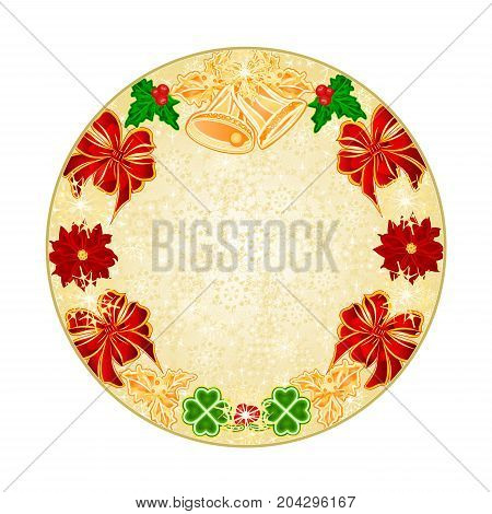 Button circle Christmas decoration snowflakes with bells and poinsettia and cloverleaf vintage vector illustration editable hand draw