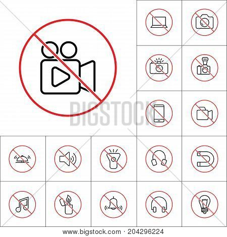 Thin Line No Video Shooting Sign, Gadget Prohibitions Set