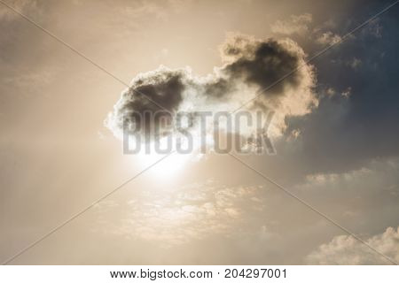 Closeup Of Small Dark Clouds On Bright Sky