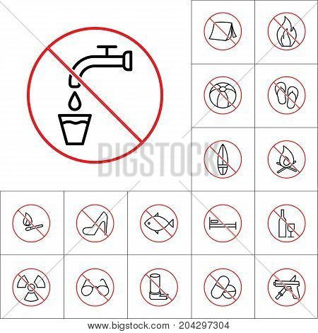 Thin Line Not Drinking Water Sign, Camping Prohibitions Set