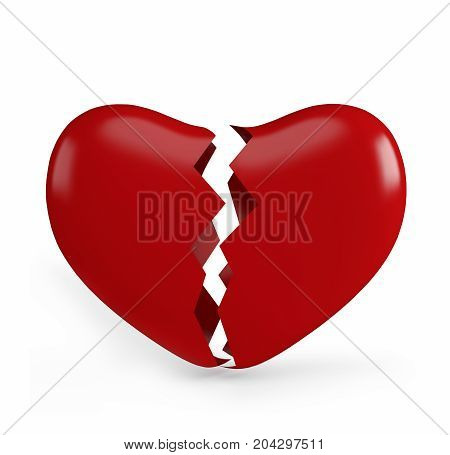 Red broken heart isolated on white background. 3d rendering