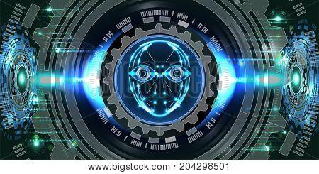 Digital technology background, digital eyes, digital face, futuristic security concept. Illustration vector