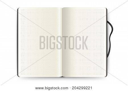 Realistic opened notebook with dot grid pages. Blank notepad mockup isolated on white background. Applicable for sketches and signs presentation. Vector eps 10.