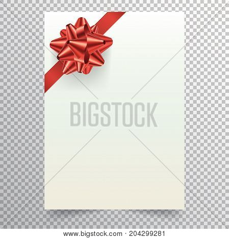 Blank paper sheet with red conical bow and ribbon. White blank a4 page isolated on transparent background. Applicable for christmass or birthday invitation design and greeting card. Vector eps 10.