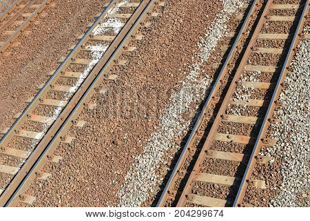 Railway lines from above the bridge view