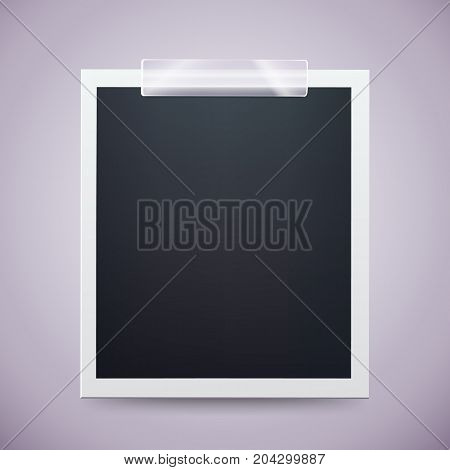 Retro photo frame attached with adhesive tape. Sweet memories concept. Vector illustration