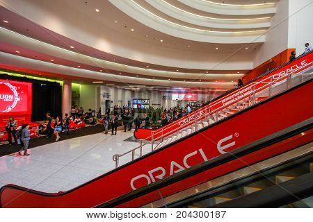 SAN FRANCISCO CA USA - OCT 1 2012 - Main entrance to Oracle OpenWorld conference in Moscone convention center on Oct 1 2012 in San Francisco CA. More than 50 thousands attendees visited this forum