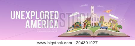 Travel to South America. Road trip. Tourism. Open book with landmarks. South America Travel Guide. Advertising web illustration. Summer vacation. Travelling banner. Modern flat design.