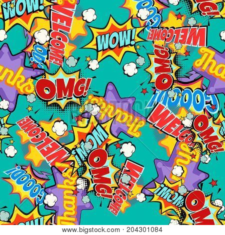 Comic book words pop art background. Seamless pattern. retro vector illustration