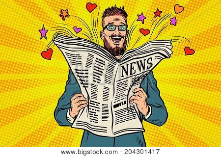 happy hipster reads the newspaper news. Fireworks heart and stars. Pop art retro vector illustration