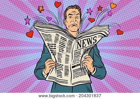 disgruntled reader reads holiday news. Pop art retro vector illustration
