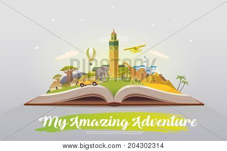 Travel to Africa. Road trip. Tourism. Open book with landmarks. Africa Travel Guide. Advertising web illustration. Summer vacation. Travelling banner. Modern flat design. EPS 10. 2