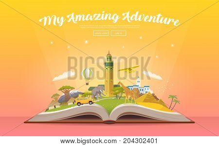 Travel to Africa. Road trip. Tourism. Open book with landmarks. Africa Travel Guide. Advertising web illustration. Summer vacation. Travelling banner. Modern flat design. EPS 10. 1