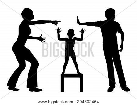Victim of domestic conflicts. Child suffers in a crossfire, when parents are quarreling