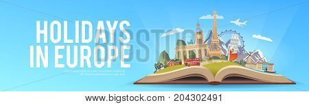 Travel to Europe. Road trip. Tourism. Open book with landmarks. Europe Travel Guide. Advertising web illustration. Summer vacation. Travelling banner. Modern flat design. EPS 10. 5
