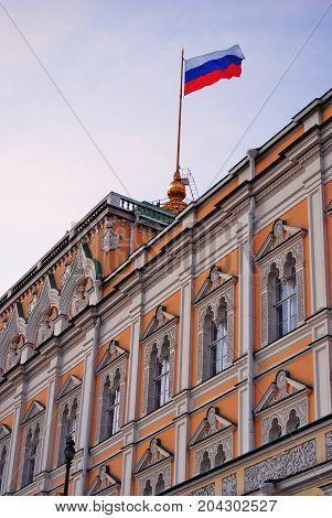 Grand Kremlin Palace of Moscow Kremlin. UNESCO World Heritage Site. Color photo. Blue sky background.