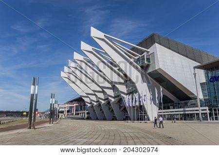 BREMEN, GERMANY - AUGUST 23, 2017: Modern building of the Congress center in Bremen, Germany