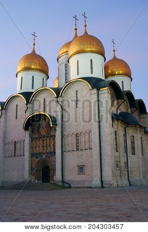 Dormition church of Moscow Kremlin. UNESCO World Heritage Site. Color photo. Blue sky background.